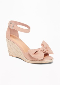 Old Navy Sueded Bow-Tie Espadrille Wedges for Women