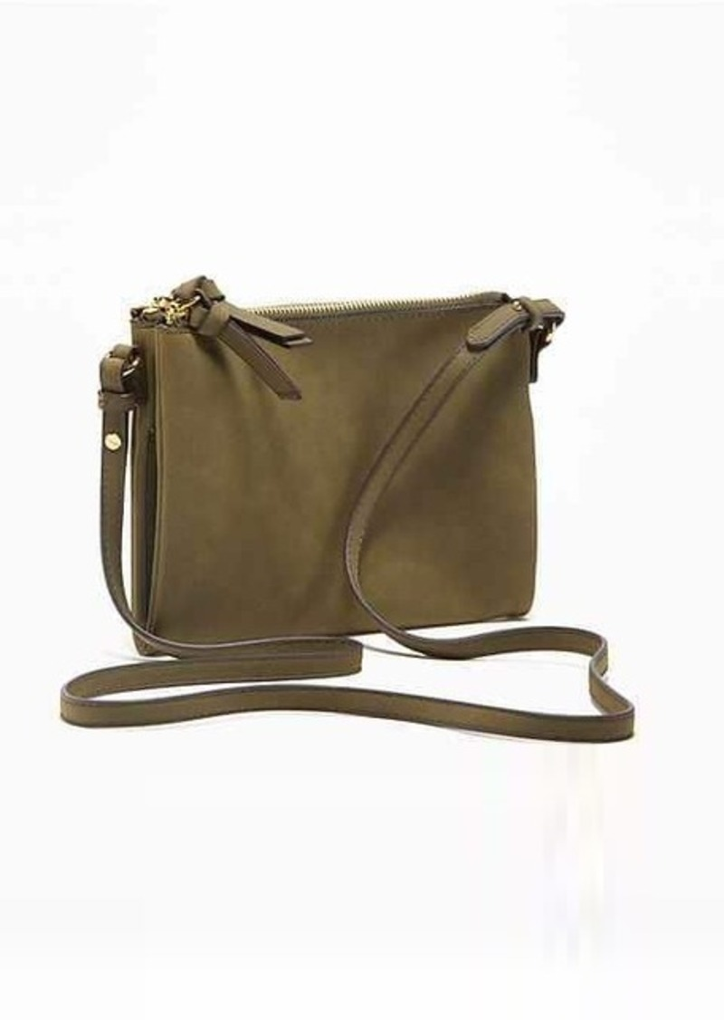 Old Navy Sueded Dual-Zip Crossbody Bag for Women
