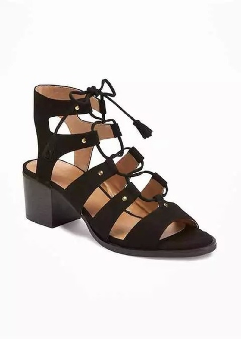 d364ea6ce1d6 Old Navy Sueded Gladiator Heeled Sandals for Women