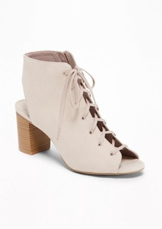 Old Navy Sueded Lace-Up Booties for Women