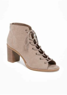 Old Navy Sueded Lace-Up Peep-Toe Booties for Women