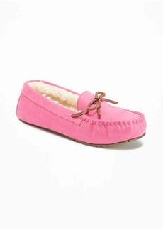 Old Navy Sueded Sherpa-Lined Moccasin Slippers for Women