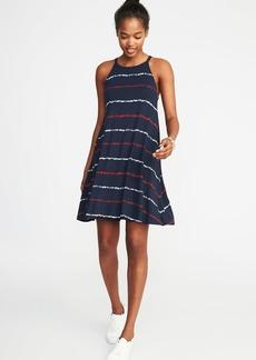 Suspended-Neck Striped Swing Dress for Women