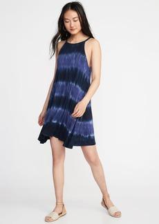 Suspended-Neck Tie-Dye Swing Dress for Women