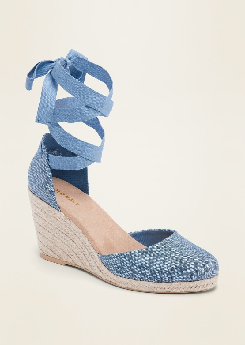 Old Navy Textile Lace-Up Espadrille Wedge Shoes for Women