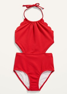 Old Navy Textured Scallop-Edged Cutout Swimsuit for Girls