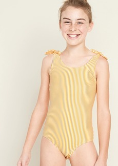 Old Navy Textured Seersucker-Stripe Tie-Shoulder Swimsuit for Girls