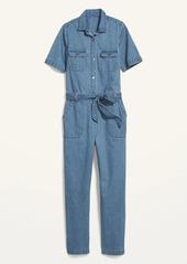 Old Navy Tie-Belt Short-Sleeve Jean Jumpsuit for Women