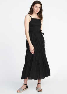 Tie-Belt Sleeveless Tiered Maxi Dress for Women