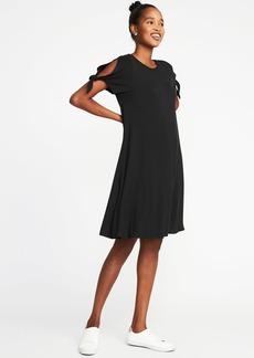 Tie-Sleeve Jersey Swing Dress for Women