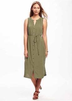 Tie-Waist Midi Shirt Dress for Women
