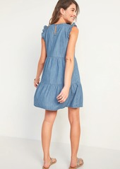 Old Navy Tiered Chambray Flutter-Sleeve Swing Dress for Women