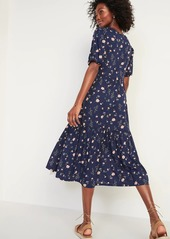 Old Navy Waist-Defined Floral-Print Midi Dress for Women