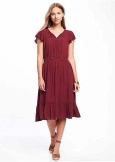 Tiered Flutter-Sleeve Dress for Women
