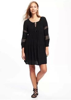 Tiered Lace-Trim Swing Dress for Women