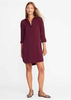 Twill Button-Front Shirt Dress for Women