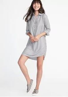 Twill Pullover Shirt Dress for Women