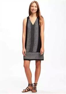V-Neck Cutout-Back Shift Dress for Women