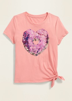 Old Navy Visual-Effects Graphic Side-Tie Tee for Girls