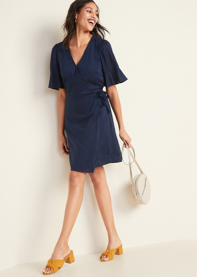 Old Navy Waist-Defined Bell-Sleeve Faux-Wrap Dress for Women