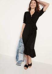 Old Navy Waist-Defined Clip-Dot Tie-Belt Midi Wrap Dress for Women
