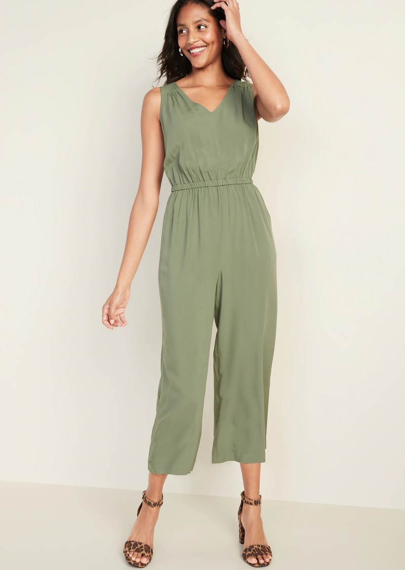 Old Navy Waist-Defined Cropped Wide-Leg Jumpsuit for Women