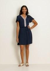 Old Navy Waist-Defined Embroidered Tie-Belt Jersey Dress for Women