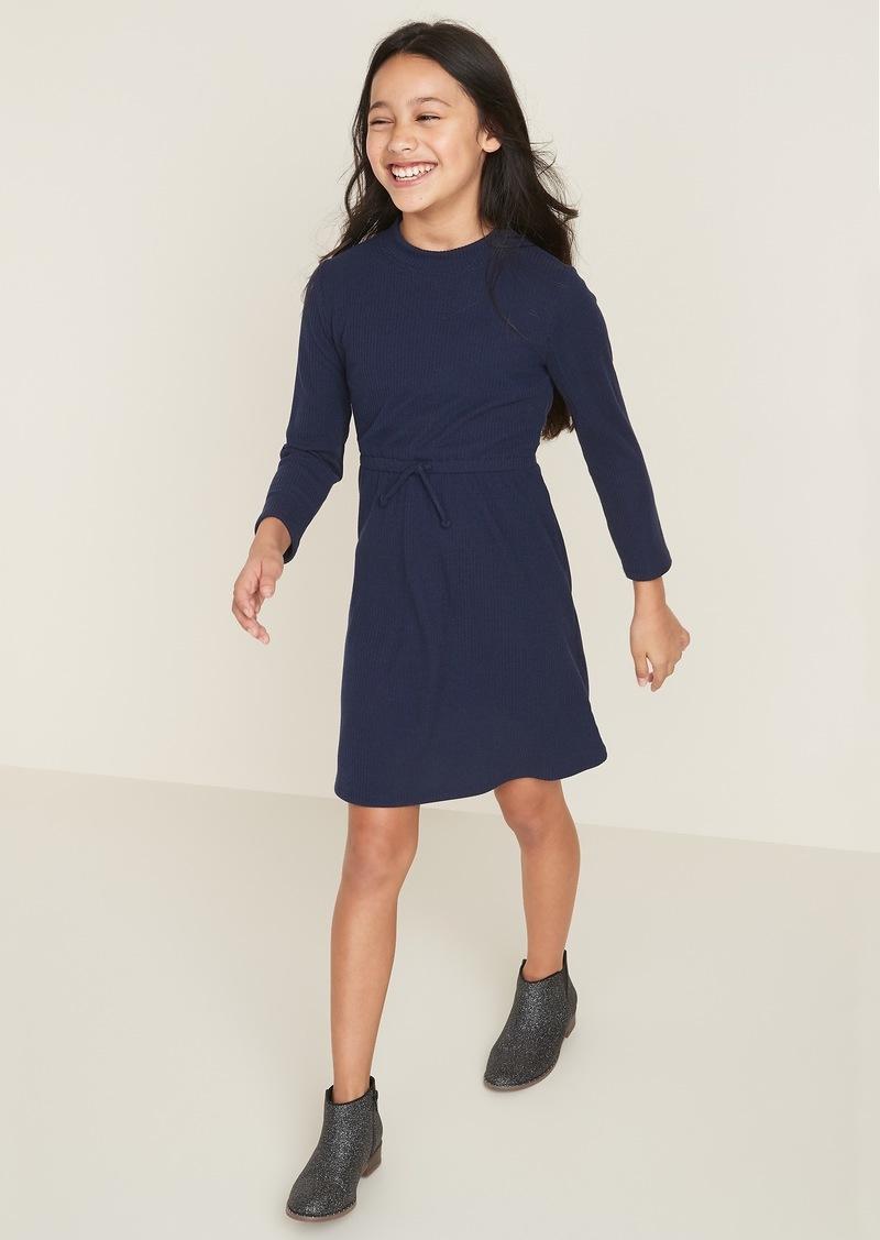 Old Navy Waist-Defined Mock-Neck Rib-Knit Dress for Girls