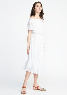 Old Navy Waist-Defined Off-the-Shoulder Crinkle-Gauze Midi Dress for Women