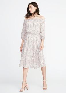 Waist-Defined Off-the-Shoulder Dress for Women