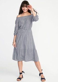 Waist-Defined Off-the-Shoulder Midi for Women