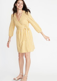e6bf2f1cc1cee Old Navy Waist-Defined Patterned Wrap-Front Dress for Women