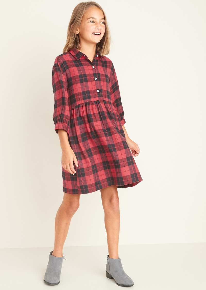 Old Navy Waist-Defined Plaid Flannel Shirt Dress for Girls