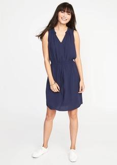 Waist-Defined Sleeveless Dress for Women
