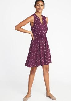 Old Navy Waist-Defined Sleeveless V-Neck Dress for Women