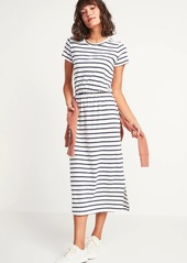 Old Navy Waist-Defined Slub-Knit Midi T-Shirt Dress