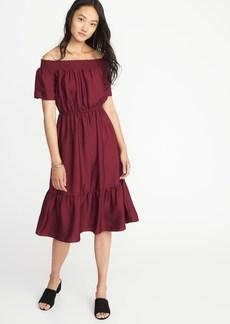 Old Navy Waist-Defined Smocked-Neck Midi Dress for Women