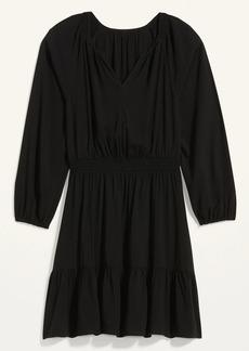 Old Navy Waist-Defined Split-Neck Tiered-Hem Dress for Women
