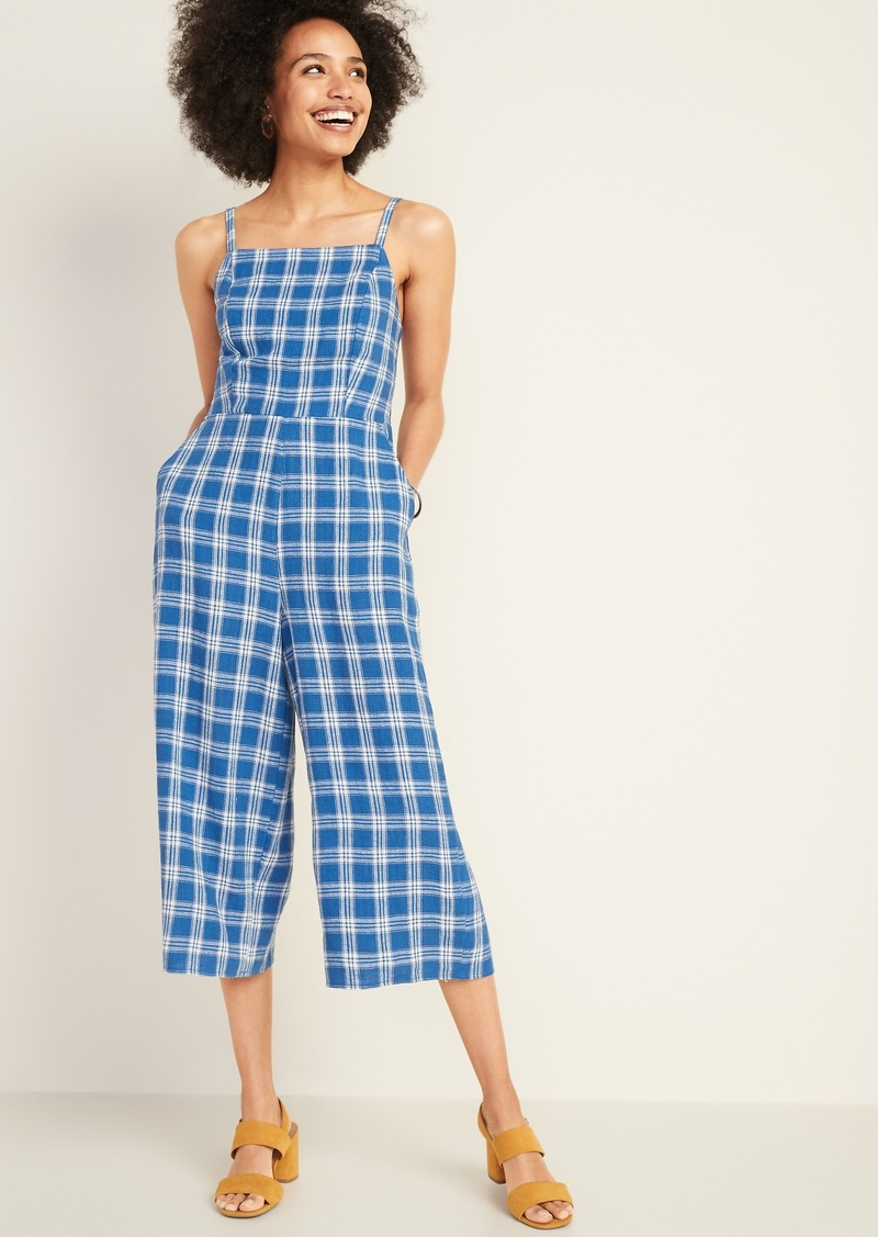 Old Navy Square-Neck Linen-Blend Cami Jumpsuit for Women