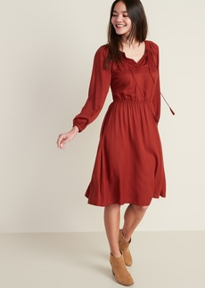 Old Navy Waist-Defined Tassel-Tie Boho Midi Dress for Women