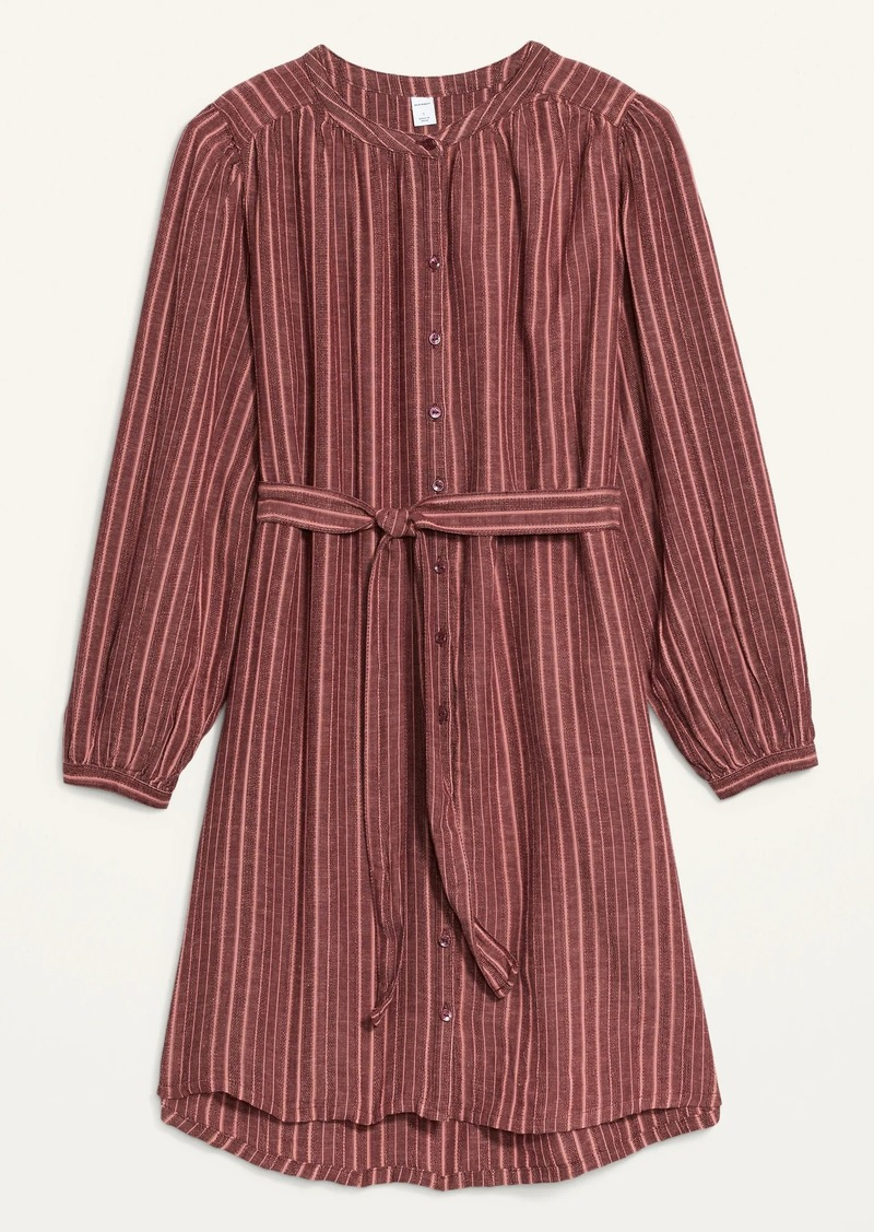 Old Navy Waist-Defined Textured Dobby-Stripe Tie-Belt Shirt Dress for Women