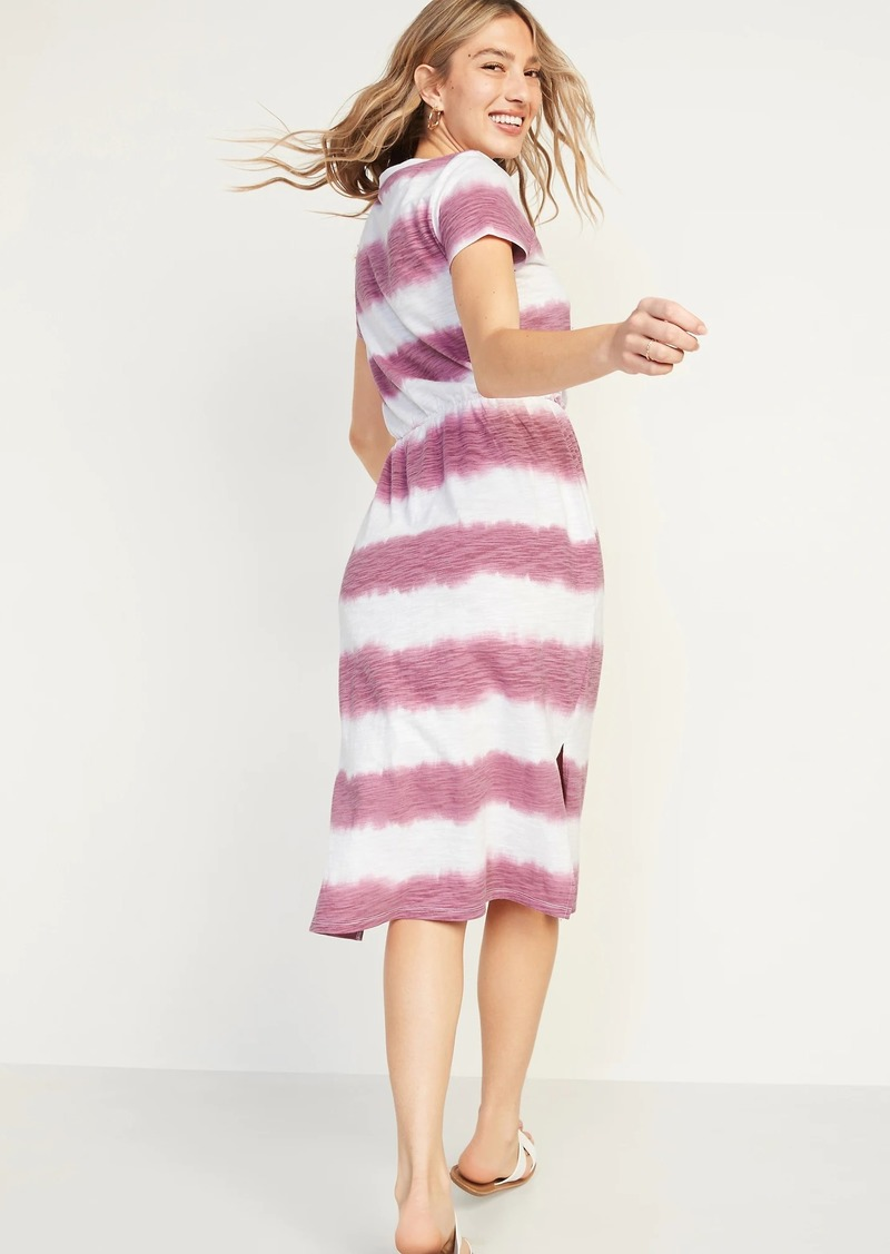 Old Navy Waist-Defined Tie-Dye Stripe Midi Dress for Women