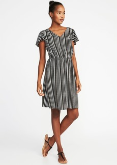 Old Navy Waist-Defined V-Neck Dress for Women