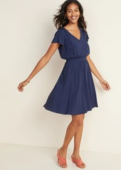 Old Navy Waist-Defined V-Neck Flutter-Sleeve Dress for Women