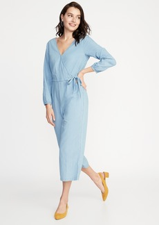 0fe9e05201e6 Old Navy Waist-Defined Wrap-Front Chambray Jumpsuit for Women