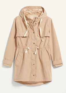 Old Navy Water-Resistant Hooded Tie-Waist Trench Coat for Women
