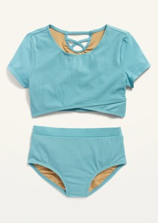 Old Navy Wrap-Front Ribbed Tankini Set for Girls