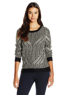 Olive & Oak Women's Abstract Print Chunky Crew Neck Sweater