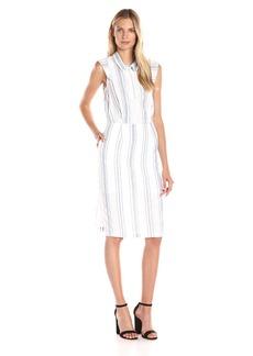 Olive & Oak Women's Collared Stripe Midi Dress White/Light Blue