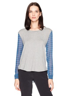 Olive & Oak Women's Jersey Top with Plaid Chiffon Sleeves